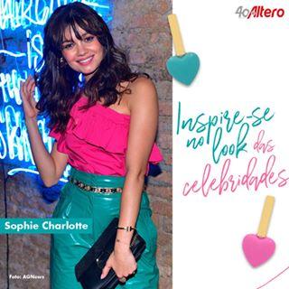 e7f9d10b5 As cores vibrantes estão na moda e o look da Sophie Charlotte apresenta a  tendência com acessórios dourados. Passe na Altero mais próxima e fique por